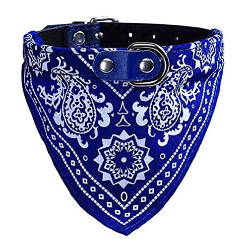 UEETEK Collare a bandana per cani e gatti Collari regorabili con sciarpa da animali domestici in blu-Taglia XL