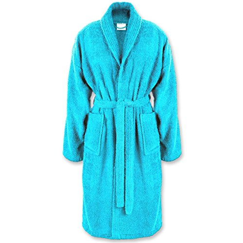 Gräfenstayn Peignoir avec col châle - 100% Coton avec Cachet Oeko-Tex/Coloris et Tailles variés/Super Absorbant pour Femmes et Hommes/Lavage Machine 60°C (S, Turquoise)