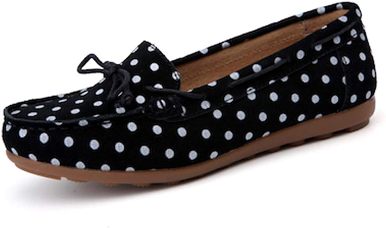 NingYu Women Ballet Flats Round Toe Leather Polka dot Soft Comfortable Loafer shoes