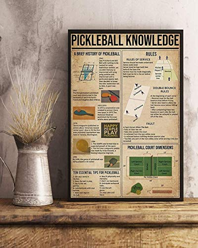 Pickleball Knowledge A Brief History of Pickleball Rules Canvas Art Canvas 0.75 Inch Print Size 8x12, 12x18, 16x24, 24x36 Inches