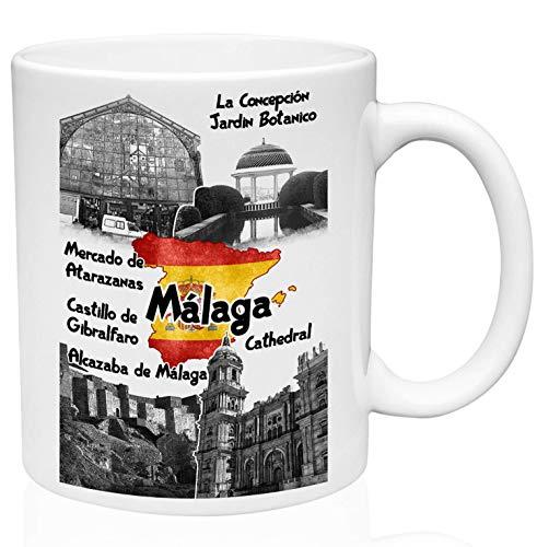 Mug España Málaga Unisex Taza De Cerámica Blanca De 330 Ml Taza De Café Novedad Oficina En Casa Personalizada Única Taza De Porcelana Duradera De Cerámica Para Té Té De Cacao