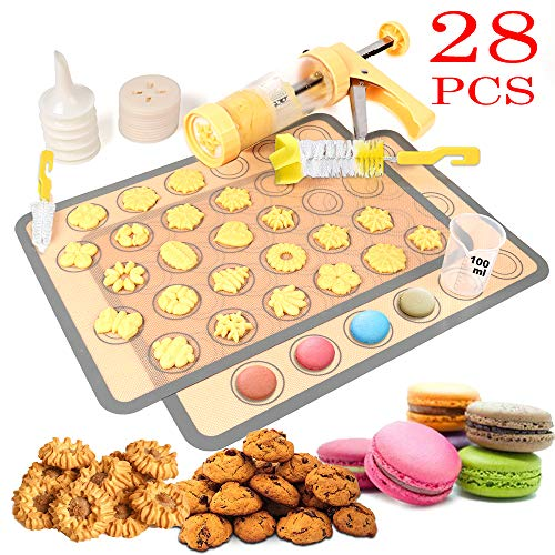 Cookie Press Gun,2019 Cookie Press with 2 Macaroon Baking Mat Sheets,16 Decorative Stencil Discs and 6 Icing Tips,2 Cleaning Brush,100ml Measuring Cup for Cookies and Biscuit and Churro Maker