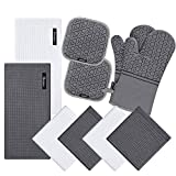 10 Piece Set Silicone Oven Mitts and Pot Holder,with Kitchen Towels and Dish Cloths ,5...