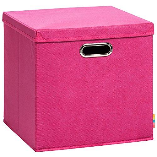 Storanda) Aufbewahrungsbox LEA mit Deckel - Faltbox - Korb - 33x33x33 cm - (Pink)