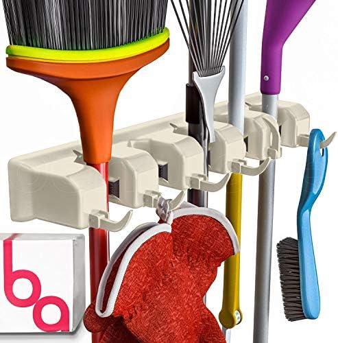 Broom Holder Wall Mount and Garden Tool Organizer Closet Storage Kitchen Rack Home Organization product image