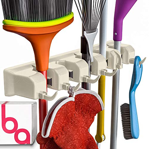 Berry Ave Broom Holder and Garden Tool Organizer Rake or Mop Handles Up to 1.25-Inches