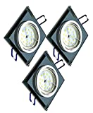 Trango 3er Set de diseño regulable Foco empotrable LED TG6736S-03GUSD Plafones empotrados de vidrio negro y aluminio, 3x bombillas LED regulables de 3 etapas regulables en 5 vatios
