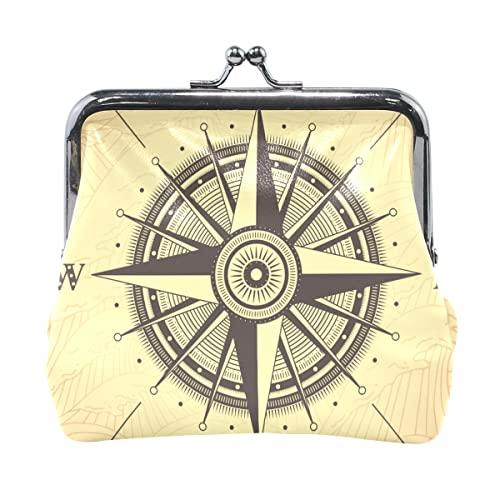 Damen Brieftasche Kleine Retro Kompass Kompass Mini Tasche Mit Kuss Verschluss Verschluss Münztasche Für Männer Für Frauen Mädchen 4,5x4,1 Zoll