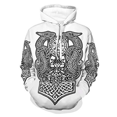 Zaclay Viking Odin Dragon Hoody - Chaqueta de chándal para hombre, color blanco, talla 3XL