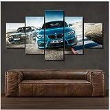 chtshjdtb Leinwand Gedruckt Poster Wohnkultur 5 Stücke HD BMWBlau Sport Auto Gemälde Wandkunst Bilder Wohnzimmer Room-30x40 30x60 30x80 cm Kein Rahmen