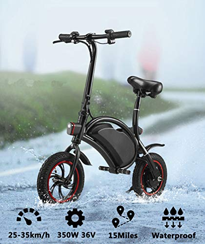 Folding Electric Bicycle, 350W 36V Lightweight E-Bike Mini Electric Bike with 15 Mile Range, Collapsible Frame, and APP Speed Setting (Black-6AH)