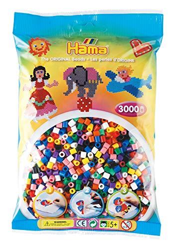 Hama Perlen 201-00 Bügelperlen Beutel mit ca. 3.000 bunten Midi Bastelperlen mit Durchmesser 5 mm im 10 Farben Mix, kreativer Bastelspaß für Groß und Klein