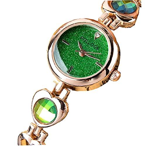 Liadance Mujeres Rhinestone Starry Sky Watch Reloj de Moda de Cuarzo analógico con Brazalete de Metal Rhinestone Wristwatch Batería incorporada Green