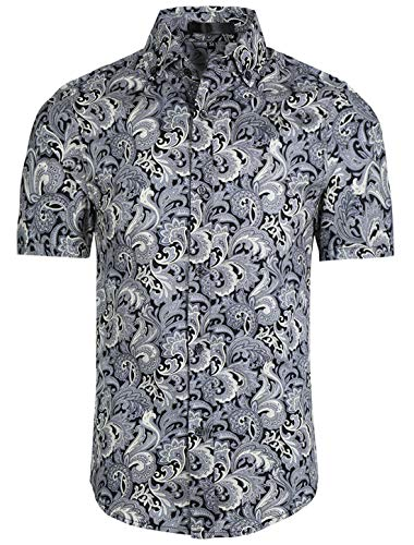 uxcell Uomo Slim vestibilità Floreale Stampa Corto Manica Pulsante Giù Spiaggia Hawaiano Casual Camicia Stampa Floreale Grigio Nero S (EU 44)
