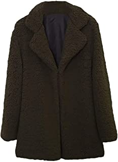 Aunimeifly Ladies Solid Color Overcoat Women Casual Lapel Parka Autumn Winter Faux Fur Coat Outwear