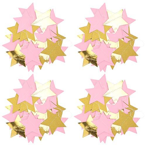 Guirnalda de papel para fiestas, 9,8 pies guirnalda colgante brillante elegante guirnalda de papel para colgar guirnalda de papel 4 piezas duraderas para la(Five-pointed star)