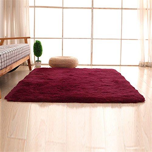 CAMAL Alfombras, Lavable Material de Lana de Seda Artificial Alfombra Decorativo Sala de Estar y Dormitorio (80cmX120cm, Vino Tinto)