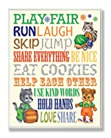 The Kids Room by Stupell Play Fair Woodland Animal Typography Rectangle Wall Plaque by The Kids Room by Stupell