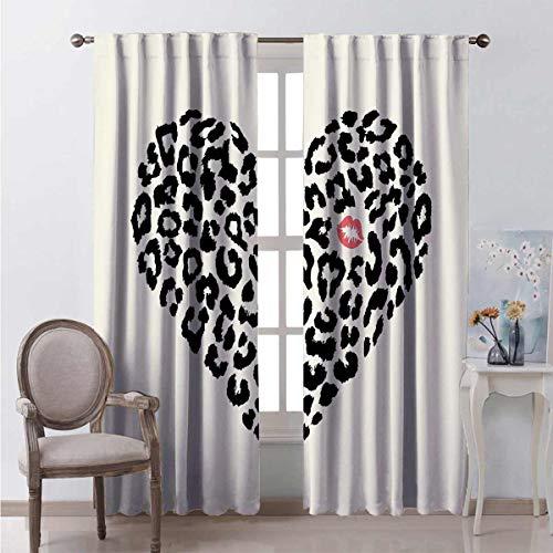 Toopeek Kiss - Cortinas opacas para dormitorio, diseño de piel de leopardo y un beso marca amor, día de San Valentín, luna de miel, 2 paneles de 54 x 72 pulgadas, color crema y coral