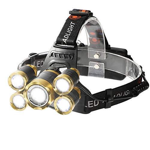 Shanke Zoomable Lampe Frontale Puissante, 8000lm 5 LED Rechargeable Lampe avec Détecteur, Torche Frontale Etanche, Prise Européenne, Portée 500M, 4 Modes SOS, pour Camping, Chasse, Pêche, Randonnée