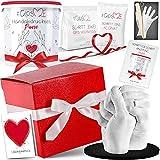 GipsME 3D Handabdruck Set für Paare - Alginat Gipsabdruckset - Partner und Pärchen Geschenke für Erwachsene als Muttertag, Hochzeitstag, Jahrestag-Geschenk für Sie und Ihn mit Geschenkbox und Sockel