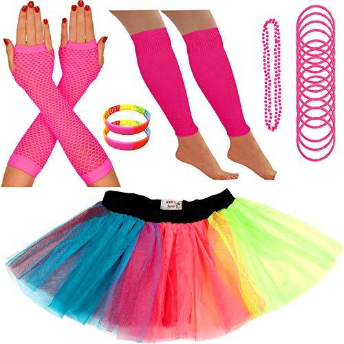 Redstar Fancy Dress - Tutu-Röckchen, Beinstulpen, Netzhandschuhe, Perlenkette, schmale Gummiarmbänder und breite Armbänder - Neonfarben - Regenbogen - 36-40