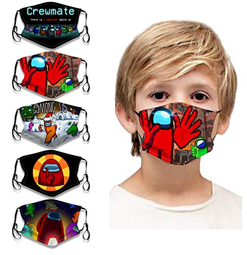 5Pcs Game Pattern Face Bandana Reusable Washable Two Layer Cloth Cotton Face Protection Adjustable for Kids Boys Girls
