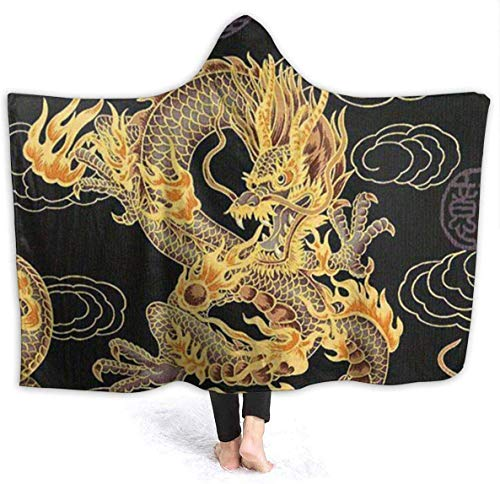 Dor675ser Hooded Blanket, Yellow Dragon Black Background Hoodie Blanket Coral Plush Ultra Soft Plush Leisure Wear Hooded Throw Wrap 40 x 52 Inch Wearable Blanket with Hood