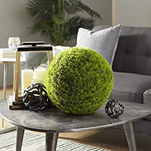 "Deco 79 50852 Large, Round Bright Green Grass Ball Decorative Foliage, Indoor Topiary Ball, Artificial Decorative Holiday Plants, Spring & Summer Faux Plant Decor | 15"" x 15"""