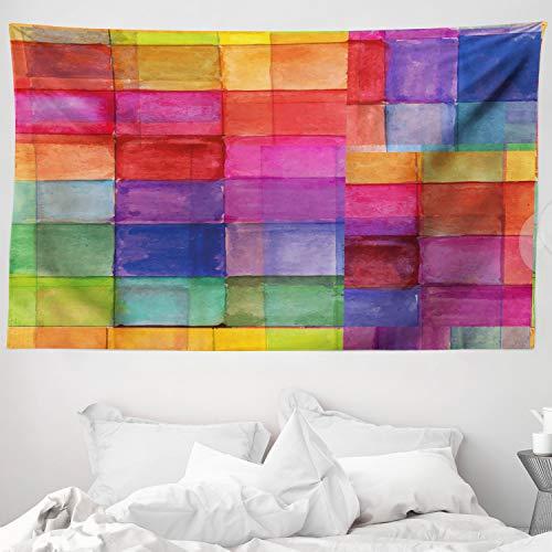 ABAKUHAUS Abstrakt Wandteppich & Tagesdecke Regenbogen-Farben-Quadrateaus Weiches Mikrofaser Stoff 230 x 140 cm Dreck abweichend Multicolor