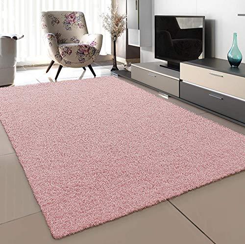 SANAT Teppich Wohnzimmer - Hellrosa Hochflor Langflor Teppiche Modern, Größe: 80x150 cm