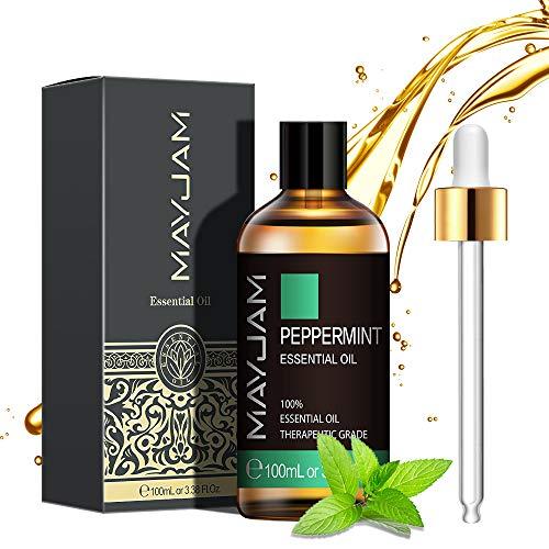 MAYJAM Aceites Esenciales de Menta 100 ml, 100% Aceites Esenciales Naturales Puros, Aceite Esencial de Aromaterapia de Grado Terapéutico, Aceites de Fragancia para Difusor, Relajación, Sueño