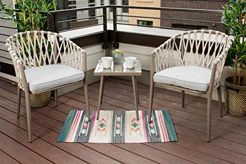 Quality Outdoor Living 65-YZSP01 Seville Rope 3 Piece Chat Set, Grey Steel + Grey Cushions