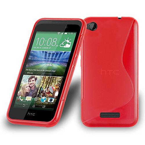 Cadorabo Hülle für HTC Desire 320 in Inferno ROT – Handyhülle aus flexiblem TPU Silikon – Silikonhülle Schutzhülle Ultra Slim Soft Back Cover Hülle Bumper