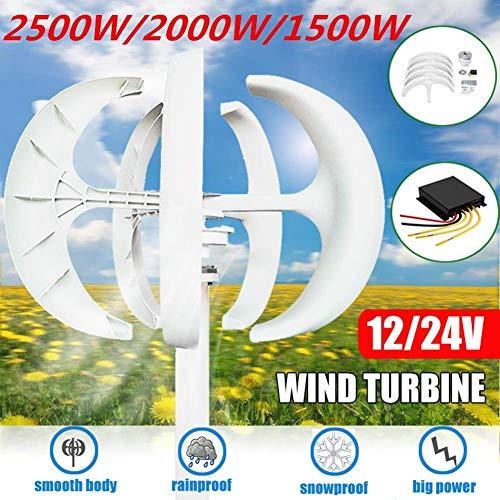LWQ Aerogenerador, 1500W / 2000W / 2500W Viento generador de turbinas + Controlador 12V / 24V 5 Cuchillas Linterna de Eje Vertical para los hogares residenciales Farola,12v,1500W