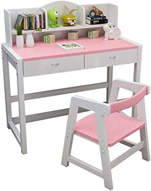 Desks Children's Study Table, Multi-Function Student Reading Table, Home Solid Wood liftable Work Table (Color : Pink)