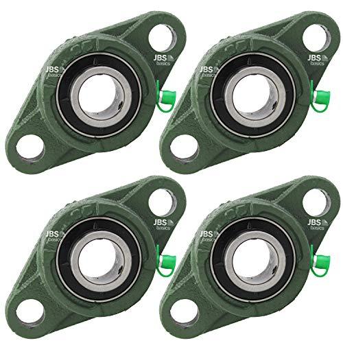 [ JBS basics ] UCFL 204 Flanschlager 4 Stück [ Gehäuselager UCFL204 für 20 mm Welle Selbstausrichtung 2-Loch ] FL204+UC204 Oval
