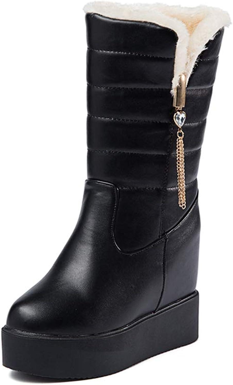 T-JULY Women's Autumn Winter Snow Boots Hidden Wedges Platform Slip on Mid Calf Boots Thick Warm Plush Inside Cotton shoes