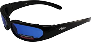 Global Vision Chicago Padded Riding Glasses (Black Frame/Blue Lens)