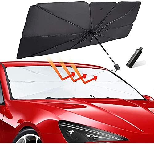 Auto Windschutzscheibe Sonnenschirm, 55 x 31 inches UV Schutz und Wärme Sonnenblendenschutz Reflektor Regenschirm für SUV/MVP/LKW, Auto Frontscheibe und Heckscheibe
