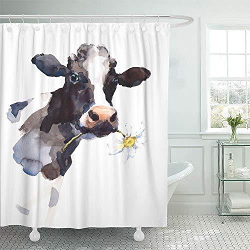Emvency Duschvorhang, wasserfest, verstellbar, Polyester-Stoff, Kuh mit Gänseblümchen im M&, Bauernhoftier-Hand, 152,4 x 182,9 cm, Set mit Haken für Badezimmer