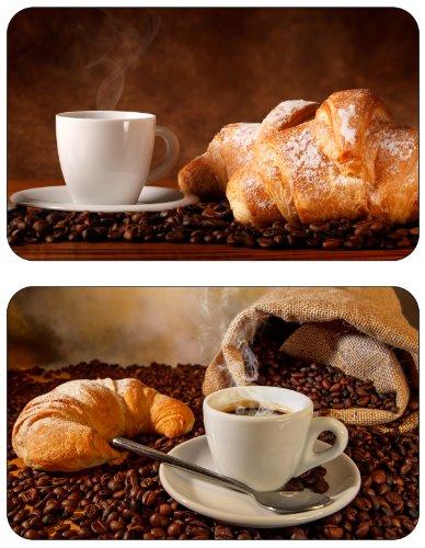 Geschenkestadl 4 x Frühstücksbrettchen Kaffee Croissant Frühstück 23,5 x 14,5 cm