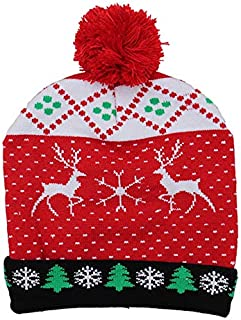 SODIAL Colorful Glowing Knitting Designs LED Christmas Hats Beanie Sweater Christmas Santa Hat Light Up Knitted Hat for Kid Adult for Christmas Party Double Deer