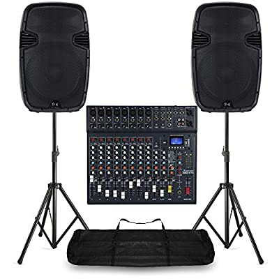 """15"""" PA Speaker System 12 Ch Bluetooth DJ Mixer 1600W Stage Sound with Stands"""
