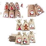 Zueyen 24 bolsas de yute para regalo de Navidad con cordón para regalos de Navidad, saco de arpillera pequeño de arpillera para dulces de Navidad