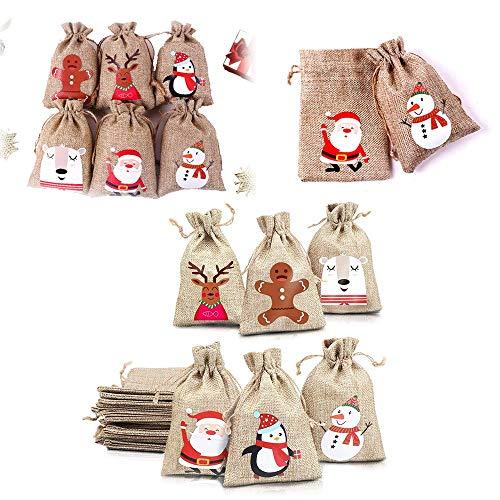 Zueyen Lot de 24 petits sacs cadeaux de Noël en toile de jute avec cordon de serrage, pochettes pour bonbons et biscuits pour enfants