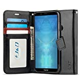 JundD Kompatibel für Huawei Honor 7C Leder Hülle, [RFID Blocking Standfuß] [Slim Fit] Robust Stoßfest PU Leder Flip Handyhülle Tasche Hülle für Huawei Honor 7C Hülle - Schwarz