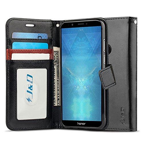 Huawei Honor 7C Leder Hülle, [RFID Blocking Standfuß] [Slim Fit] Robust Stoßfest PU Leder Flip Handyhülle Tasche Hülle für Huawei Honor 7C Hülle - Schwarz