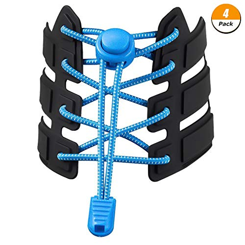 Rainy 4 Paar Freie Schnüren Sie sich Schnürsenkel, 120 cm dehnbare Latex-Reflexschnürsenkel, geeignet für Kinder, Senioren und Nachtläufer, blau