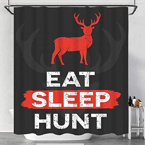 MAYUES Duschvorhang Wasserdicht Essen Sie Schlafjagd Inspirierende Worte Grunge Retro Deer Antlers mit Haken, waschbare Badvorhänge